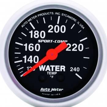 "Auto Meter - Auto Meter 2-1/16"" Mini Sport-Comp Water Temperature Gauge - 120°-240°"