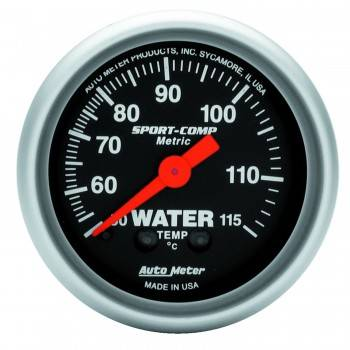 Auto Meter - Auto Meter Sport-Comp Mechanical Metric Water Temperature Gauge - 2-1/16""