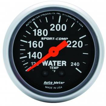"Auto Meter - Auto Meter 2-1/16"" Mini Sport-Comp Water Temperature Gauge - 120°-240°"