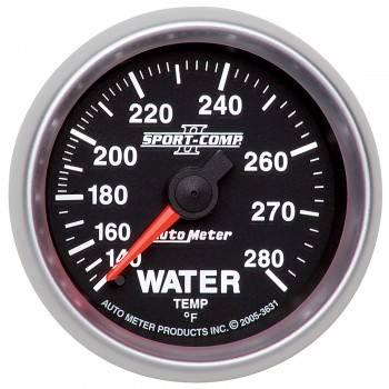 """Auto Meter - Auto Meter 2-1/16"""" Sport-Comp II Water Temperature Gauge - 140-280°"""