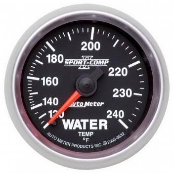 """Auto Meter - Auto Meter 2-1/16"""" Sport-Comp II Water Temperature Gauge - 120-240°"""
