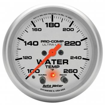"Auto Meter - Auto Meter 2-5/8"" Ultra-Lite Electric Water Temperature Gauge w/ Peak Memory & Warning - 100-260°"
