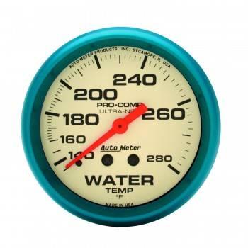 "Auto Meter - Auto Meter Ultra-Nite Water Temperature Gauge - 2-5/8"" - 140°-280°"