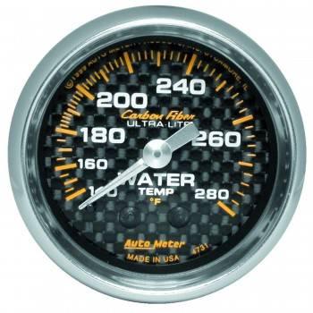 """Auto Meter - Auto Meter Carbon Fiber Water Temperature Gauge - 2-1/16"""" - 140°-280° F"""