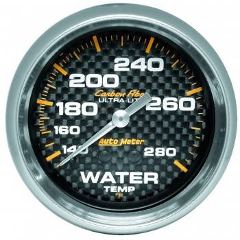 """Auto Meter - Auto Meter Carbon Fiber Water Temperature Gauge - 2-5/8"""" - 140°-280° F"""