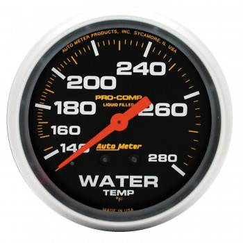 "Auto Meter - Auto Meter Pro-Comp Liquid Filled Water Temperature Gauge - 2-5/8"" - 140°-280°"