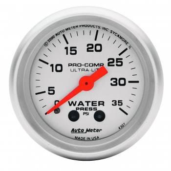"Auto Meter - Auto Meter 2-1/16"" Ultra-Lite Water Pressure Gauge - 0-60 PSI"