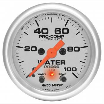 "Auto Meter - Auto Meter 2-1/16"" Ultra-Lite Electric Water Pressure Gauge w/ Peak Memory & Warning - 0-100 PSI"