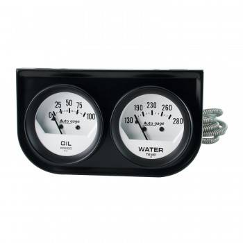 Auto Meter - Auto Gage White Oil/Water Gauge Black Console - 2-1/16 in.