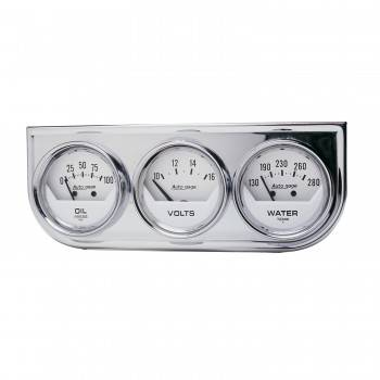 Auto Meter - Auto Gage White Oil/Volt/Water Chrome Steel Console - 2-1/16 in.