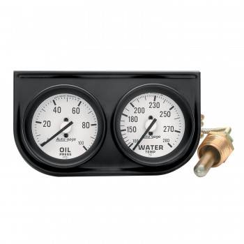 Auto Meter - Auto Gage Mechanical Oil / Water Black Console - 2-1/16 in.