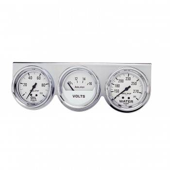 Auto Meter - Auto Gage Mechanical White Oil / Volt / Water Chrome Console - 2-5/8 in.