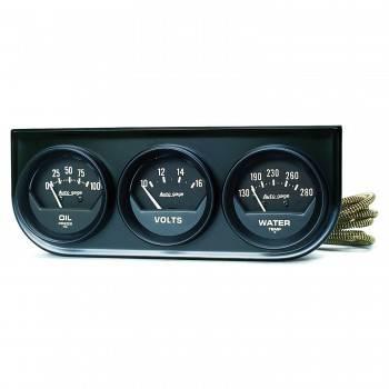 Auto Meter - Auto Gage Black Oil / Volt / Water Black Console - 2-1/16 in.