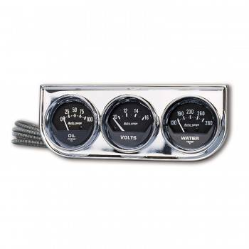 Auto Meter - Auto Gage Black Oil / Water / Volt Chrome Console - 2-1/16 in.