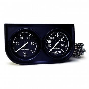 Auto Meter - Auto Gage Oil / Water - Black - Steel Console - 2-1/16 in.
