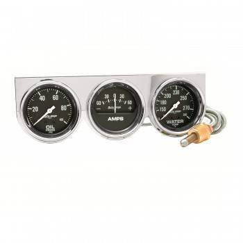 Auto Meter - Auto Gage Black Oil / Amp / Water Chrome Console - 2-5/8 in.