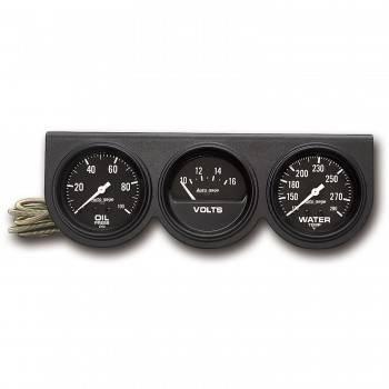 Auto Meter - Auto Gage Black Oil / Volt / Water Black Console - 2-5/8 in.