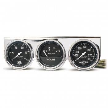 Auto Meter - Auto Gage Black Oil / Water / Volt Chrome Console - 2-5/8 in.
