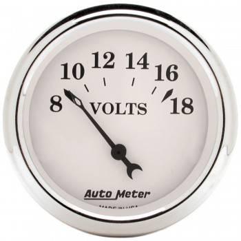 "Auto Meter - Auto Meter Old Tyme White Voltmeter Gauge - 2-1/16"""