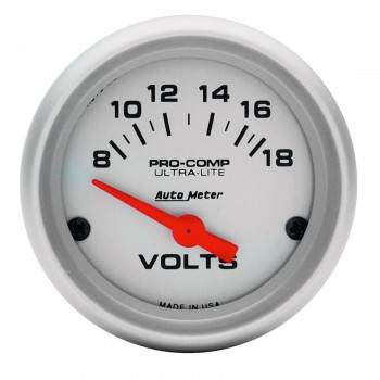 "Auto Meter - Auto Meter Mini Ultra-Lite Electric Voltmeter Gauge - 2-1/16"" - 8-18 Volts"