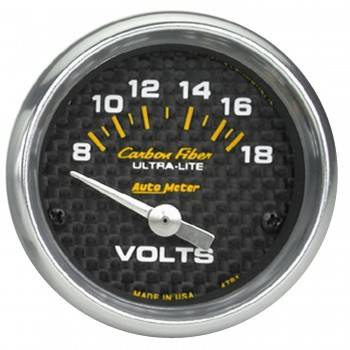 "Auto Meter - Auto Meter Carbon Fiber Voltmeter Gauge - 2-1/16"" - 8-18 Volts"
