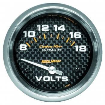 "Auto Meter - Auto Meter Carbon Fiber Electric Voltmeter Gauge - 2-5/8"" - 8-18 Volts"