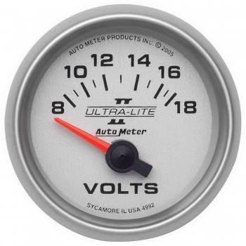 "Auto Meter - Auto Meter 2-1/16"" Ultra-Lite II Electric Voltmeter - 8-18 Volts"
