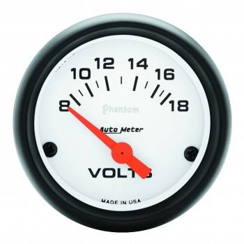 "Auto Meter - Auto Meter Phantom Electric Voltmeter Gauge - 2-1/16"" - 8-18 Volts"