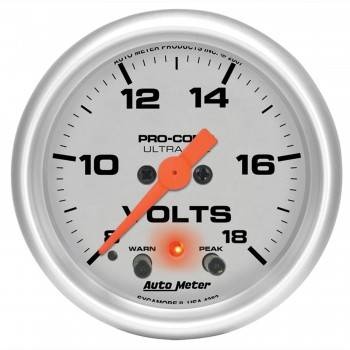 "Auto Meter - Auto Meter 2-1/16"" Ultra-Lite Electric Volt Gauge w/ Peak Memory & Warning - 8-18 Volts"