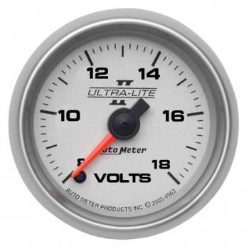 """Auto Meter - Auto Meter Ultra-Lite II Electric Voltmeter Gauge - 2-1/16"""""""