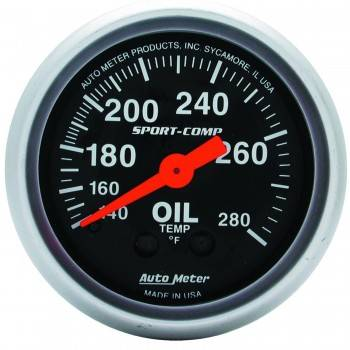 "Auto Meter - Auto Meter 2-1/16"" Mini Sport-Comp Oil Temperature Gauge - 140°-280°"