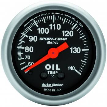 Auto Meter - Auto Meter Sport-Comp Mechanical Metric Oil Temperature Gauge - 2-1/16""