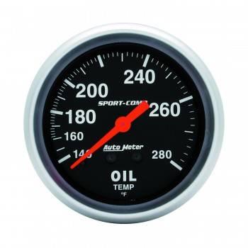 """Auto Meter - Auto Meter 140-280°  Sport-Comp Oil Temperature Gauge - 2-5/8"""""""