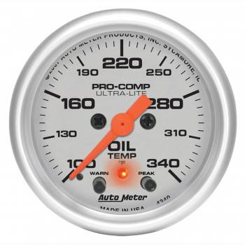 "Auto Meter - Auto Meter 2-1/16"" Ultra-Lite Electric Oil Temperature Gauge w/ Peak Memory & Warning - 100-340° F"