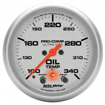 "Auto Meter - Auto Meter 2-5/8"" Ultra-Lite Electric Oil Temperature Gauge w/ Peak Memory & Warning - 100-340°"