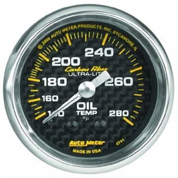 """Auto Meter - Auto Meter Carbon Fiber Oil Temperature Gauge - 2-1/16"""" - 140°-280° F"""