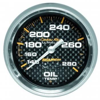 """Auto Meter - Auto Meter Carbon Fiber Oil Temperature Gauge - 2-5/8"""" - 140°-280° F"""