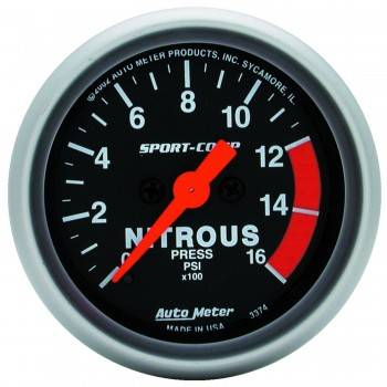 Auto Meter - Auto Meter Sport-Comp Electric Nitrous Pressure Gauge - 2-1/16 in.