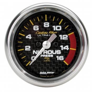 Auto Meter - Auto Meter Carbon Fiber Electric Nitrous Pressure Gauge - 2-1/16 in.