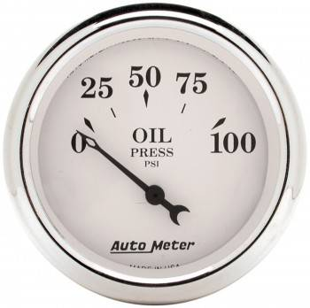 Auto Meter - Auto Meter Old Tyme White Mechanical Oil Pressure Gauge - 2-1/16""