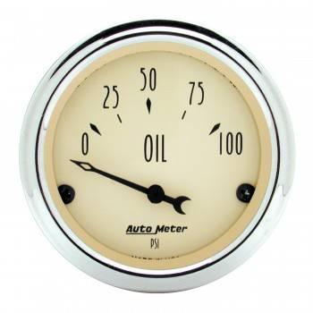"Auto Meter - Auto Meter Antique Beige Oil Pressure Gauge - 2-1/16"""