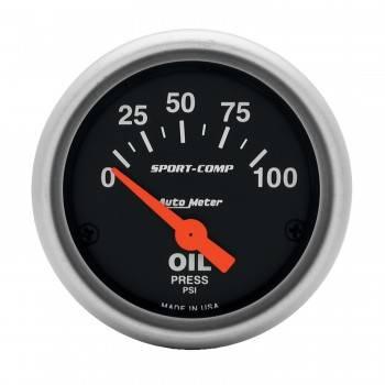 "Auto Meter - Auto Meter 2-1/16"" Mini Sport-Comp Electric Oil Pressure Gauge - 0-100 PSI"
