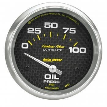 """Auto Meter - Auto Meter Carbon Fiber Electric Oil Pressure Gauge - 2-5/8"""" - 0-100 PSI"""