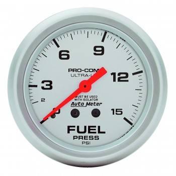 "Auto Meter - Auto Meter Ultra-Lite Fuel Pressure Gauge w/ Isolator - 2-5/8"" - 0-15 PSI"