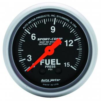 "Auto Meter - Auto Meter 2-1/16"" Mini Sport-Comp Fuel Pressure Gauge - 0-15 PSI"