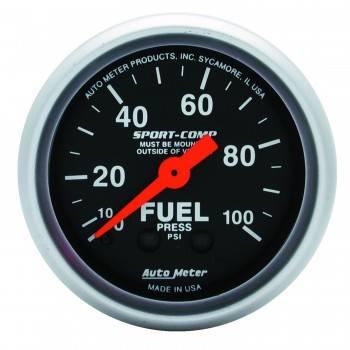 "Auto Meter - Auto Meter 2-1/16"" Mini Sport-Comp Fuel Pressure Gauge - 0-100 PSI"