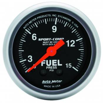 "Auto Meter - Auto Meter 2-1/16"" Mini Sport-Comp Fuel Pressure Gauge w/ Isolator - 0-15 PSI"
