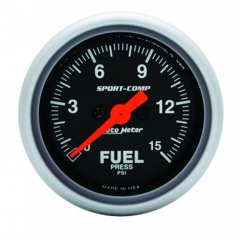 "Auto Meter - Auto Meter 2-1/16"" Mini Sport-Comp Electric Fuel Pressure Gauge - 0-15 PSI"
