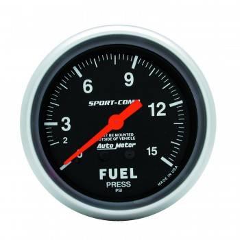 """Auto Meter - Auto Meter 1-15 PSI Sport-Comp Fuel Pressure Gauge - 2-5/8"""""""