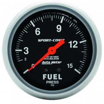 """Auto Meter - Auto Meter 1-15 PSI Sport-Comp Fuel Pressure Gauge w/ Isolator - 2-5/8"""""""